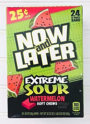 Now & Later Watermelon Soft Chews Extreme Sour 0.93oz / 26g each (24 Count) Box