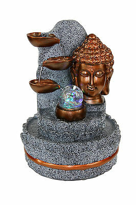 Buddha Indoor Tabletop Water Fountain Copper LED Light w/Rolling Crystal Ball