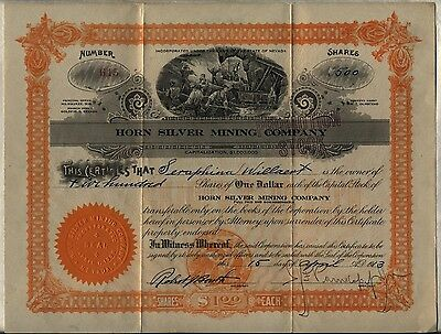 Horn Silver Mining Company Stock Certificate Nevada