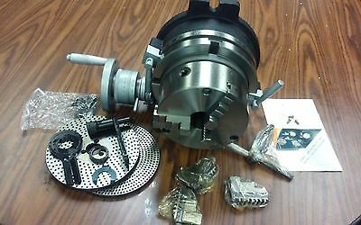 "10"" PRECISION HORIZONTAL & VERTICAL ROTARY TABLE w 3jaw chuck & index plates-new"