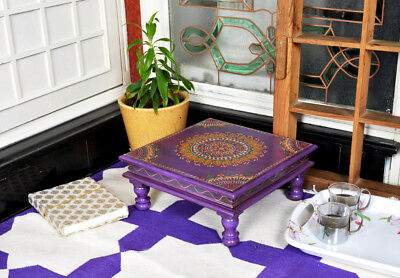 Antique Wood Square Furniture Christmas Gift Painted Purple Side End Low Tables