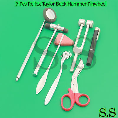 Set Of 7 Pcs Reflex Taylor Babinski Queen Square Buck Hammer Pinwheel Penlight