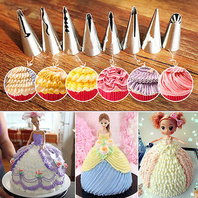 Flower Piping 7pcs Stainless Steel Icing Nozzles Tips Pastry Cake Baking Tool CH