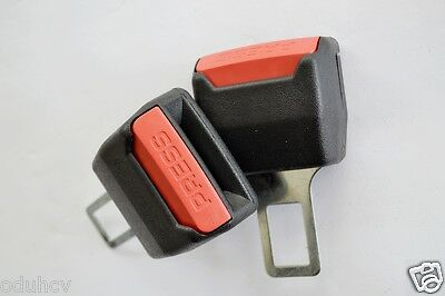 2 pcs Car Seat Belt Plug Buckle Extension Dummy Clip Alarm Stopper Canceller