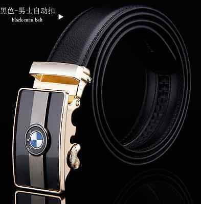 NEW Popular mens Leather Belt Waistband Strap Luxury Automatic Buckle BMW LJZ040