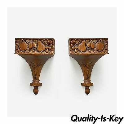 Pair of Hand Carved Solid Wood Fruit Harvest Decorative Wall Brackets Shelves