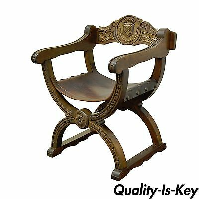 Vintage Renaissance Revival Style Solid Wood & Leather Carved Throne Arm Chair