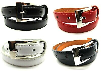 New High Quality Ladies Girls Skinny Slim Genuine Leather Belt Silver Buckle