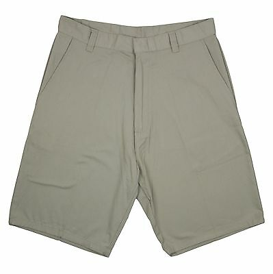 "Men Khaki 9"" Shorts Flat Front Genuine School Uniform   Sizes 28 - 38"