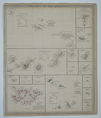Original antique SDUK Map No.126 Islands in the Atlantic. Published 1836