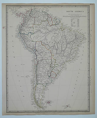 Original antique SDUK Map No.148 South America. Published 1842
