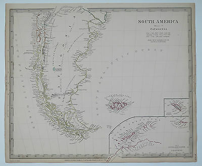 Original antique SDUK Map No.153 South America sheet V. Published 1838