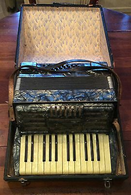 Antique Gray Mother of Pearl ACCORDION German or France WWII Inscription
