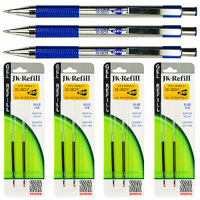 Zebra G-301 Gel Pens With Refills, Blue Gel Ink, 0.7mm Medium Point, 7-Piece Set