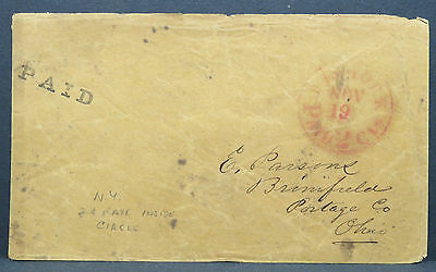 US Stampless Cover New York Paid 2c Cancel Stamp Vorphila Brief (Lot I-273
