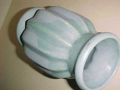 "late 1920's  CAMARK 8"" MELON VASE  -  GREEN over BLUE  -  SIGNED - PERFECT"