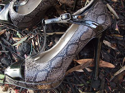 Miss Shop Heels Shoes Size 9 Black Snakeskin Mary Jane Wedding Special Occasion