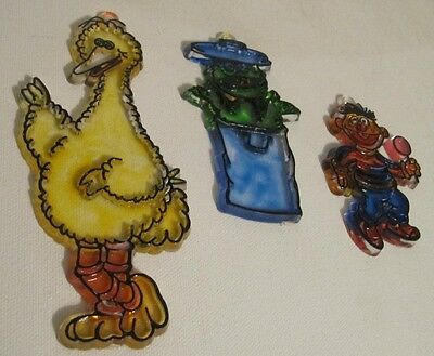 Vintage Muppets Suncatchers Big Bird Ernie Oscar the Grouch Sesame Street