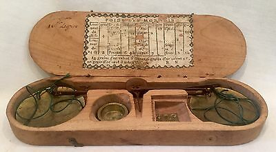 c1800 Small French Handheld Brass & Iron Balance w/ Weights & Original Wood Case