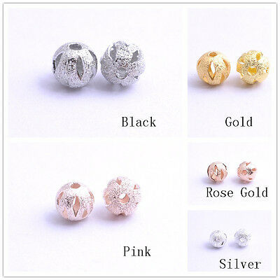 New Gold/Silver/Black/Pink Copper Hollow Spacer Beads Jewelry Findings 6/8/10MM