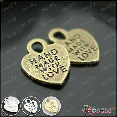 40PCS 15*12MM Alloy Handmade with love Heart Charms Jewelry Findings 26615