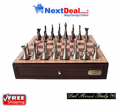 "Dal Rossi Italy Premium Staunton Chess Set on 18"" Walnut Finish Box with Drawers"