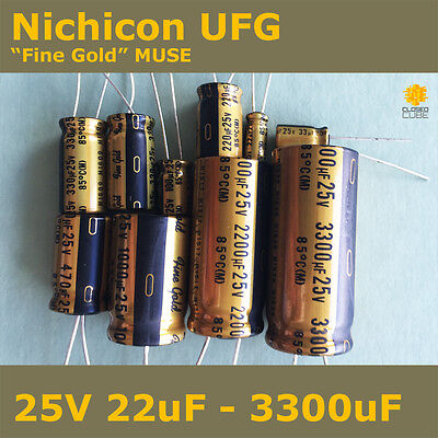 "Nichicon UFG FG ""Fine Gold"" MUSE High Grade for Audio [25V] Capacitors"