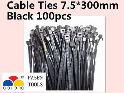 100Pcs Black Electrical Nylon Cable Zip Ties (7.5mm x 300mm) UV Stabilised