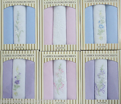 Ladies Boxed Handkerchiefs. 3 Cotton Hankies in  pastel shades gift boxed.