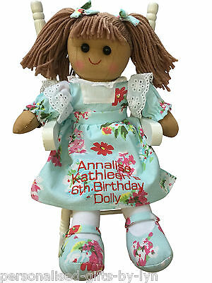 Personalised Rag Doll, any message can be added, Mint floral dress