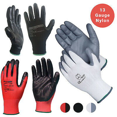 24 Pairs Black Nylon Nitrile Coated Safety Work Garden Gloves Builders Grip
