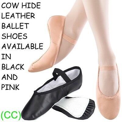 Pink & Black LEATHER Ballet Dance Shoes full suede sole with elastics jig pumps