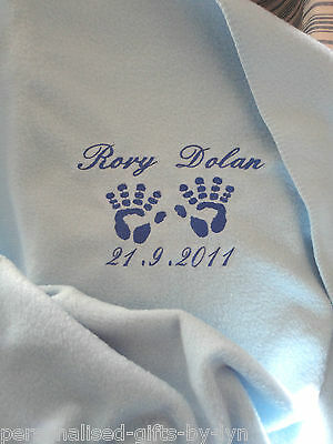 Personalised Baby Blanket Hand Print Design, choice of blanket colours