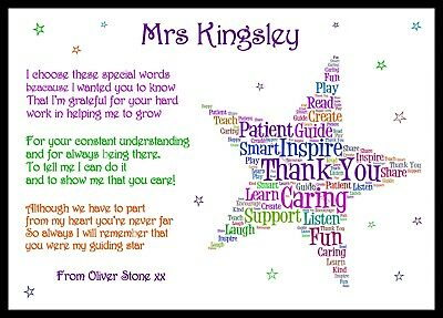 Thank You Teacher Gift Personalised Childminder Assistant Leaving Nursery Star *