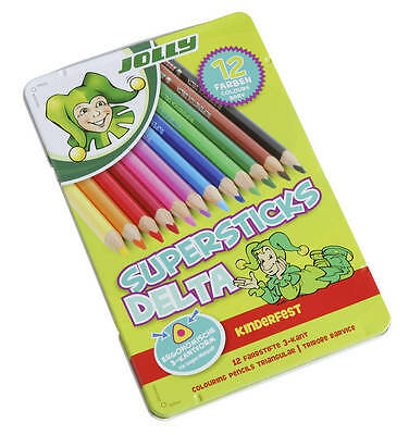 Jolly Buntstifte Superstick Delta 12er Metalletui leuchtende Farben kinderfest