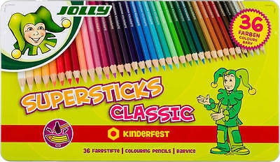 Jolly Buntstifte Superstick Classic 36er Metalletui Farben kinderfest