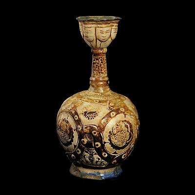 Aphrodite- Ancient Large Islamic Kashan Pottery Bottle, Museum Quality