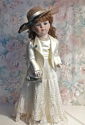 18inch All Porcelain Doll in Victorian Era Bridal Costume