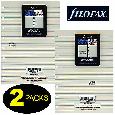 2 Packs, Filofax A5 Size Ruled Refill Paper B152008U, Cream Color