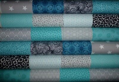 24 Teal Grey Mixed prints quilting fabric 5 inch squares #47a