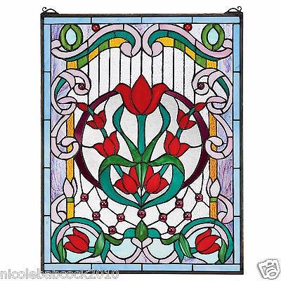 Victorian Flower Passion  tiffany style stained glass windows w 15 jewels
