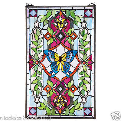 Butterfly Garden Of Delight Jewels Tiffany Style Stained Glass Window Panel • CAD $377.87