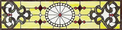 """36.5"""" Victorian  Symmetry Tiffany Style Stained Glass Window Panel"""