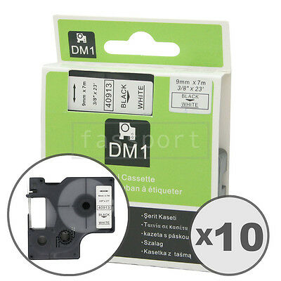 10pk Black on White Tape Label Compatible for DYMO 40913 D1 9mm 3/8""