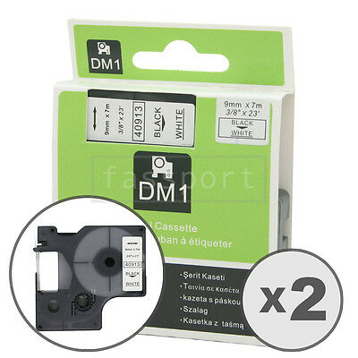 2pk Black on White Tape Label Compatible for DYMO 40913 D1 9mm 3/8""