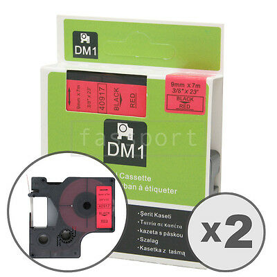 2pk Black on Red Tape Label Compatible for DYMO 40917 D1 9mm 3/8""