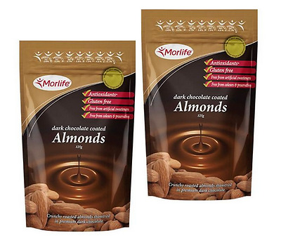 Morlife Dark Chocolate Coated Almond nuts 125gm x 2 (250gm) - Antiox rich