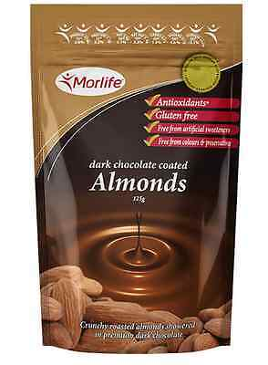 Morlife Dark Chocolate Coated Almond nuts 125gm pouch - Antiox rich, delicious!
