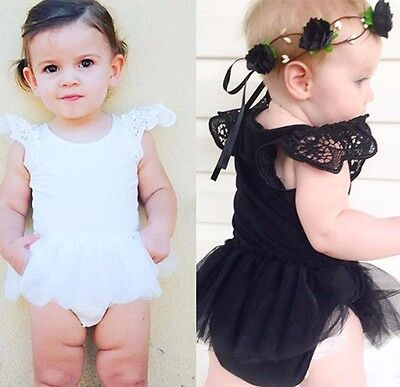 Newborn Baby Girl Bodysuit Lace Romper Jumpsuit Outfits Clothes Short Sleeves