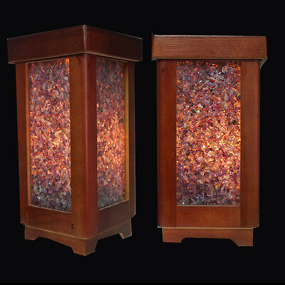 Rare Handmade Wooden Ambiance Lamp with hundreds of Amethyst Gemstones